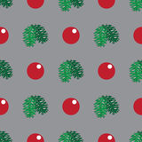 Christmas and New Year seamless hand-drawn pattern, illustration. Christmas and New Year seamless pattern, pine branches and cristmas balls illustration stock illustration