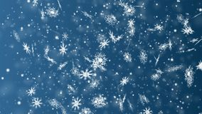 Christmas and New Year seamless looping animation. Christmas snowflakes on dark blue background. Winter wonderland magic