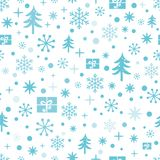 Vector Christmas and New Year seamless pattern with blue snowflakes onehite vector illustration