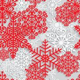 Christmas and New Year seamless pattern. With white paper snowflakes. Winter seasonal holidays background. 3D paper art background royalty free illustration