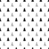 Christmas, New Year seamless pattern with christmas tree.. Holiday background. Silver christmas tree. Xmas winter festive decoration. Shiny texture. Trendy Royalty Free Stock Image