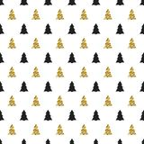 Christmas, New Year seamless pattern with christmas tree. Holiday background. Gold christmas tree. Xmas winter festive Royalty Free Stock Photo