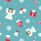 Christmas and New Year seamless pattern. Christmas seamless pattern with cute angels, mittens and snowflakes Stock Photo