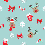 Christmas and New Year seamless pattern. Christmas seamless pattern with deers, mittens, bows and snowflakes Stock Photo