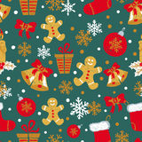 Christmas and New Year seamless pattern with doodle bells, balls, gingerbread Man Stock Photo