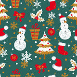 Christmas and New Year seamless pattern with doodle snowmen, fir trees, gifts Royalty Free Stock Photography