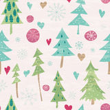 Christmas and New Year seamless pattern. Seamless floral pattern with winter plants and hearts. Hand drawn winter holiday design for Christmas and New Year vector illustration