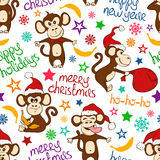 Christmas And New Year Seamless Pattern With Funny Monkey. Stock Photography