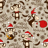 Christmas And New Year Seamless Pattern With Funny Monkey. Royalty Free Stock Photography