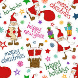 Christmas And New Year Seamless Pattern With Funny Santa Claus. Stock Photos
