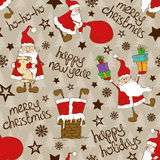 Christmas And New Year Seamless Pattern With Funny Santa Claus. Royalty Free Stock Images