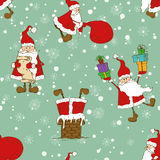 Christmas And New Year Seamless Pattern With Funny Santa Claus. Christmas and New Year background. Seamless pattern with funny Santa Claus and snowflakes Stock Images