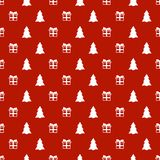 Christmas New Year seamless pattern with gift christmas tree. Holiday background. Trendy gift. Xmas winter doodle Stock Image