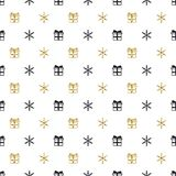 Christmas New Year seamless pattern with gift snowflakes. Holiday black background. Gold white gift. Xmas winter doodle royalty free illustration