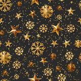 Christmas or New Year  seamless pattern with gold stars and snowflakes. Holiday black glowing background. Royalty Free Stock Photos