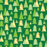 Christmas and New Year seamless pattern with green and golden tr Royalty Free Stock Photo
