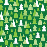 Christmas and New Year seamless pattern with green and white tre Royalty Free Stock Photos