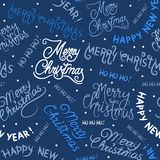 Christmas and New Year seamless pattern with inscriptions stock illustration