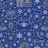 Christmas, new year seamless pattern, line illustration. Vector icons of winter holidays christmas tree, gifts, letter Royalty Free Stock Images