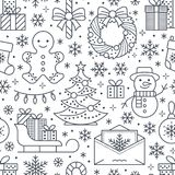 Christmas, new year seamless pattern, line illustration. Vector icons of winter holidays christmas tree, gifts, letter vector illustration