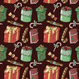 Christmas New Year seamless pattern on maroon background royalty free illustration