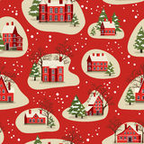 Christmas and New Year seamless pattern. Marry Christmas and Happy New Year seamless pattern vector illustration. Houses in snowfall, rural winter landscape at Stock Photo