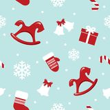 Christmas and New Year seamless pattern with red horses, mittens and snowflakes. Christmas seamless pattern with red horses, mittens and snowflakes. vector vector illustration
