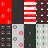 Christmas and New Year seamless pattern set, vector illustration. Set of Christmas and New Year backgrounds. The set of eight seamless patterns with simple Stock Image