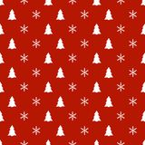 Christmas New Year seamless pattern with snowflakes christmas tree. Holiday background. Xmas winter decoration. Festive Royalty Free Stock Photography