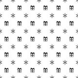 Christmas New Year seamless pattern with snowflakes gift present. Holiday background. Xmas winter trendy decoration Stock Images