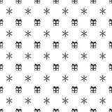 Christmas New Year seamless pattern with snowflakes gift present. Holiday background. Xmas winter trendy decoration. Festive texture. Hand drawn vector Royalty Free Stock Images