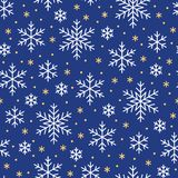 Christmas, new year seamless pattern, snowflakes line illustration. Vector icons of winter holidays, cold season snow Stock Image