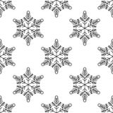 Christmas, new year seamless pattern, snowflakes line illustration. Vector icons of winter holidays, cold season snowfall. stock illustration