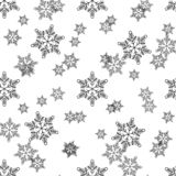 Christmas, new year seamless pattern, snowflakes line illustration. Vector icons of winter holidays, cold season snowfall. royalty free illustration
