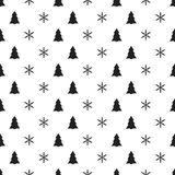 Christmas New Year seamless pattern with snowflakes christmas tree. Holiday background. Xmas winter decoration. Festive Stock Photo