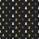 Christmas New Year seamless pattern with snowflakes christmas tree. Holiday background. Xmas winter decoration. Golden Stock Photo