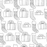 Christmas and new year seamless pattern. Vector holiday black white background with gifts socks for greeting card design. And packaging vector illustration