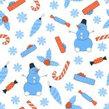 Christmas and New Year seamless pattern vector. Christmas and New Year. Seamless pattern vector illustration with a snowman and candies Royalty Free Stock Photography