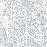 Christmas and New Year seamless pattern. With white paper snowflakes. Winter seasonal holidays background. 3D paper art background vector illustration