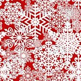 Christmas and New Year seamless pattern. With white paper snowflakes. Winter seasonal holidays background. 3D paper art background stock illustration