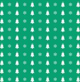 Christmas and new year  pattern with  snowflakes and bells on gr. Christmas and new year  seamless pattern with white snowflakes and bells on green background Royalty Free Stock Photos