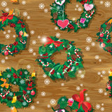 Christmas and New Year Seamless pattern with wreat Stock Photo