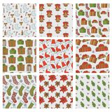 Christmas and new year seamless patterns. Vector set of holiday backgrounds with gifts socks snowflakes cap for greeting. Card design and packaging vector illustration