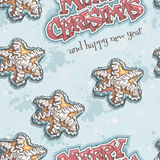 Christmas and New Year seamless texture with gingerbread Royalty Free Stock Photography