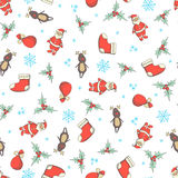 Christmas and New Year seamless vector pattern Stock Photography