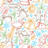 Christmas and New Year seamless vector pattern Royalty Free Stock Photo