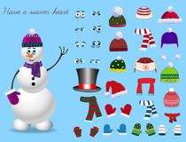 Set for creation cute cartoon snowman character. Christmas and new year set for creating snowman. Eyes, emotions, hats, scarves, mittens. Cute winter clothes Stock Images