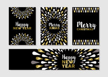 Christmas and new year set of gold card designs. Merry Christmas Happy New Year gold set of elegant designs for banner, greeting card, label, tags. EPS10 vector Royalty Free Stock Photography