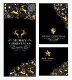 Christmas new year set gold reindeer retro holiday Royalty Free Stock Photos