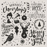 Christmas and new year set. Hand made lettering christmas and new year set. Decorative elements stock illustration